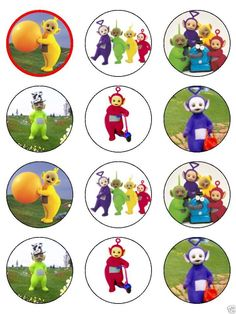 """15 x 2"""" TELETUBBIES PRE CUT ICING Cup Cake Toppers Decorations 