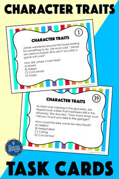 32 task cards, a spinner game Main Idea Activities, Inference Activities, Vocabulary Activities, Third Grade Reading, Student Reading, Character Traits Activities, Character Education, Response To Intervention, Reading Response