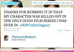 The more I hear from Robert Pattinson, the more I love him. Nobody hates Twilight more than this guy.