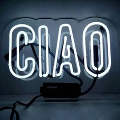 Oliver Gal 'ciao' Neon Sign White By ($253) ❤ liked on Polyvore featuring wall shelves & ledges