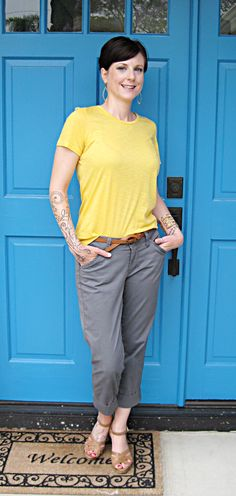 yellow and gray #outfit