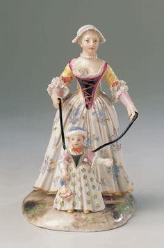 Mutter mit Kind am Gängelband, Ludwigsburg um 1760, Porzellan