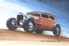 Hot Rod drawings Illustration trying to catch the feeling of 40's advertisements.