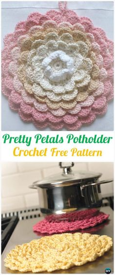 Crochet Pretty Petals Potholder Free Pattern+Video - Crochet Pot Holder Hotpad Free Patterns