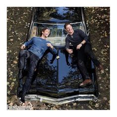 When I saw this first thing I noticed is not the two hot guys but how shiny that car is... And what with girls in bikinis and short shorts, I'll take fully clothed Winchesters with baby anyday. #SPNBaby