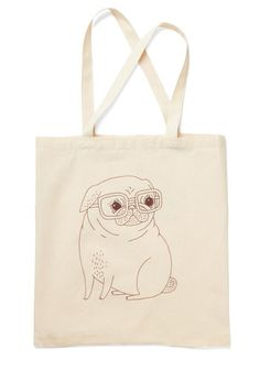 Wisdom by Winston Tote - Cream, Red, Print with Animals, Casual, Eco-Friendly, Exclusives, Work, Press Placement, Spring, Best Seller, Top Rated, Critters, Dog, Gals, Under $20