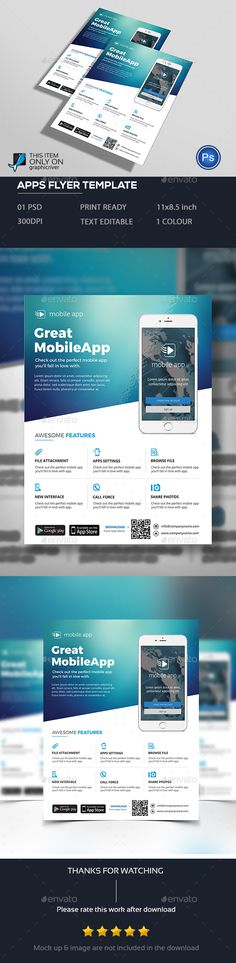 Mobile Apps Flyer Template PSD. Download here: http://graphicriver.net/item/mobile-apps-flyer/15629400?ref=ksioks