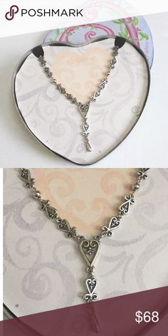 "NWOT Brighton Florence Heart Lace Necklace RETIRED NWOT/STILL IN TIN  Authentic Brighton Silver Florence Heart Collection Necklace  Design echoes opulent Florentine openwork  Hearts form a lace like chain with a drop Detail  Adjustable L 16""-18"" -lobster clasp Has never been worn  Truly a Brighton Lover/Collector Must Have!   SAVE= Make Offer OR Bundle  OFFER BUTTON= to submit offer  OFFER CHART= offer suggestions  FINAL= Price at LOWEST LOWBALL OFFERS= Ignored Thanks & Happy Poshing…"