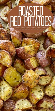 Roasted Red Potatoes are roasted to crispy perfection in the oven with olive oil, parmesan cheese, and seasonings. Roasted potatoes are an easy side dish. Potato Recipes Crockpot, Healthy Potato Recipes, Roasted Potato Recipes, Easy Baking Recipes, Side Dish Recipes, Vegetarian Recipes, Cooking Recipes, Roasted Potato Seasoning Recipe, Healthy Potatoes