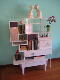 Reclaimed furniture made into stylish storage spaces. What the!? So stinkin' sweet!
