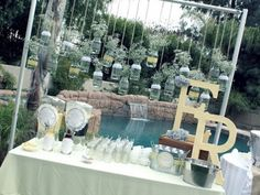 Vintage Grey & Yellow Bridal Shower - Kara's Party Ideas - The Place for All Things Party Bar Vintage, Vintage Bridal, Vintage Party, Vintage Yellow, Yellow Bridal Showers, Hanging Mason Jars, Hanging Candles, Hanging Flowers, Ball Jars