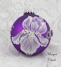 Purple MUD Texture Painted Iris Ornament with Bling 519