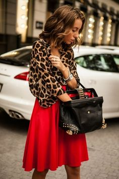 Top 20 Stunning Women's Outfits with Leopard Print love the red skirt and leopard print combo!