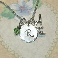 Microscope Personalized Sterling Silver Initial Charm Necklace