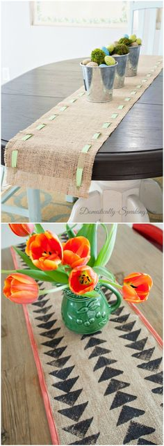 Camino de mesa DIY. Visto en www.ecodecomobiliario.com Burlap Crafts, Diy And Crafts, Home Goods Decor, Home Decor, Burlap Table Runners, Table Linens, Christmas Diy, Table Settings, Diy Projects