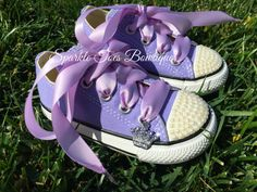 Princess Sofia Shoes - Sofia the First - Sofia Party - Sofia Costume - Pearls - Lavender Converse - Infant/Toddler/Youth - Birthday shoes
