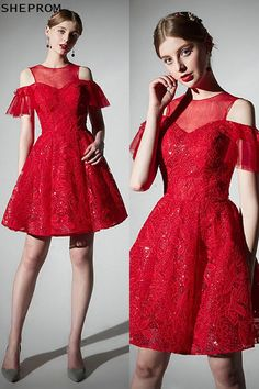 Only $79, 2018 Short Red Lace Cute Homecoming Party Dress Cold Shoulder #AMA86026 at SheProm. #SheProm is an online store with thousands of dresses, range from Prom,Homecoming,Party,Red,Lace Dresses,Short Dresses,Off the Shoulder Dresses,Customizable Dresses and so on. Not only selling formal dresses, more and more trendy dress styles will be updated daily to our store. With low price and high quality guaranteed, you will definitely like shopping from us. Shop now to get $5 off! Cheap Short Prom Dresses, Cute Homecoming Dresses, Trendy Dresses, Simple Dresses, Lace Dresses, Formal Dresses, Fashion Dresses, Red Lace Dress Short, Party Dresses Online