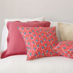 Palm Leaf Pillow Cover in Coral