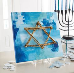 10 Hanukkah Crafts Star of David Art Piece: Make your own Hanukkah crafts or get the whole family involved with one of Hanukkah Crafts, Feliz Hanukkah, Jewish Crafts, Hanukkah Decorations, Christmas Hanukkah, Happy Hanukkah, Jewish Art, Holiday Crafts, Holiday Fun