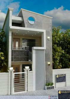 3 Storey House Design, Bungalow House Design, House Front Design, Modern Small House Design, Minimalist House Design, Indian House Plans, House Design Pictures, Model House Plan, House Elevation