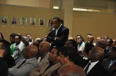 Members of the Ethiopian community in Washington DC pose questions to Dr. Tedros during discussions at the Embassy