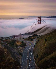 San Francisco under a white blanket of fog.