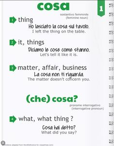 n.001 COSA the most used noun!) definition, examples, click through to see full post including more examples and links to the digital magazine with videos, cartoons, and more.