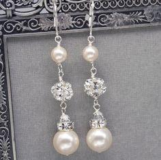 Long Pearl and Rhinestone Dangle Earrings, Bridal Wedding Jewelry, Ivory Pearl Drop Earrings, Swarovski Pearl Jewelry.