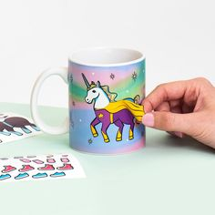 Unicorn Dress Up Mug - Not to be lewd, but have you ever noticed that unicorns are naked? We have, so we made them some clothes - 40 fabulous fashions and accessories in sticker form, to be precise. Desk Accesories, Accessories, Unicorn Store, Technology Gifts, Gadgets, 40 And Fabulous, Unicorn Dress, Unicorn Gifts, Gadget Gifts