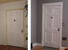 MOLDING BEFORE AND AFTER | new paint new molding around the windows doors and baseboards