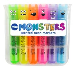 International Arrivals - Mini Monsters Scented Markers, $3.95 (http://www.intlarrivals.com/mini-monsters-scented-markers/)