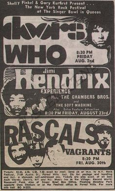 Original newspaper concert ad for Jimi Hendrix, The Doors, and The Who at the Singer Bowl in Queens NYC. 4 x 7
