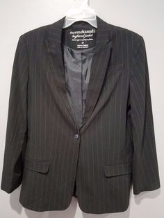 NORMA KAMALI Black Pinstriped Boyfriend Jacket Blazer Stretch Women's Size 12 | Clothing, Shoes & Accessories, Women's Clothing, Coats & Jackets | eBay!
