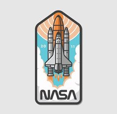 "SINGLE GIF: '""Nasa Badge Shuttle Animation"" by Austin Faure on August Dribbble. What's up guys! This is another SMASHWORKS collaboration illustrated by Fugoso and animated by myself Faure featuring the NASA space shuttle discovery on. Badge Design, Logo Design, Space Patch, Handy Wallpaper, Space Artwork, Journal Stickers, Cartoon Design, Aesthetic Stickers, Space Shuttle"