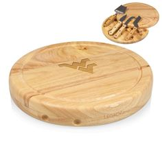 Cheese and fruit.....perfect for any party. The West Virginia Mountaineers chopping board is composed of Rubberwood a natural hardwood known for being eco-friendly with a rich grain and durability. Swing the board the side to reveal a hidden compartment of four stainless steel cheese cutting tools. Each tool with a purpose; one cheese cleaver for crumbly cheeses, one cheese plane for semi-hard to hard cheeses, one fork-tipped cheese knife, and 1 hard cheese knife/spreader.