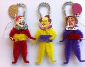 circus clowns with balloons set of 3 vintage style chenille ornaments StanleyAndStewart  vintage style chenille ornaments Etsy