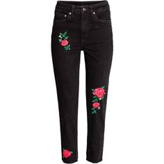 Jean brodé (26 SAR) ❤ liked on Polyvore featuring jeans, embroidered jeans, embroidered denim jeans, denim jeans and embroidery jeans