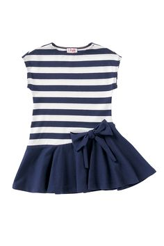 Stretch jersey dress made of cotton and elastane blend. Striped top and plain skirt. Round neck and very short sleeves. Bow on the left hip. Kids Frocks, Frocks For Girls, Little Girl Dresses, Kids Dress Wear, Baby Girl Dress Patterns, Baby Frocks Designs, Toddler Dress, Cute Dresses, Kids Fashion