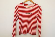MARIMEKKO Shirt Nautical Top Red White Striped Sailor Blouse Marine Long Sleeves Cotton Small Size Measurements (laying flat):  Shoulders - 14  / Nautical Tops, Marimekko, Good Old, Sailor, Red And White, Flat, Blouse, Long Sleeve, Sleeves