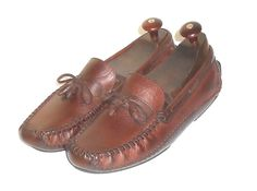 H. S. Trask Bozeman Montana Men's Brown Leather Driving Moccasin Loafer  10 M…