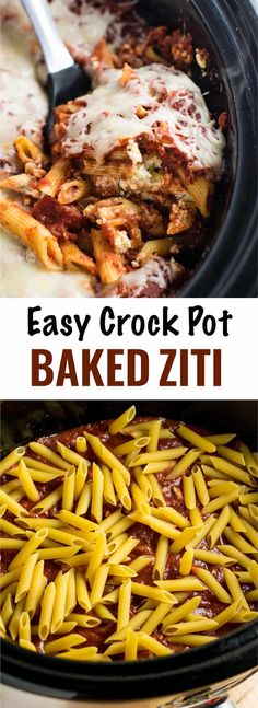 30 Must-Try Crock Pot Recipes Easy Crockpot Baked Ziti. Takes minutes to assemble and you don't even have to cook the noodles first! I get compliments every time I make this! Perfect for a lazy dinner and feeds a crowd. Crock Pot Baked Ziti Recipe, Crock Pot Cooking, Cooking Oil, Cooking Light, Cooking Pasta, Cooking Spaghetti, Cooking Bacon, Slow Cooker Recipes, Crockpot Recipes