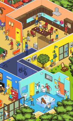 Different illustrations for ad and magazines #pixelart #isometric