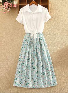 Dress丨Shirt and Printed Skirt Dress – jolielie Girly Outfits, Modest Outfits, Skirt Outfits, Modest Fashion, Cute Outfits, Fashion Outfits, Fashion Women, Vintage Skirt, Vintage Dresses