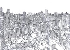 line drawing of NYC Cityscape Drawing, City Drawing, Landscape Drawings, Architecture Drawings, Landscapes, Landscape Art, Merian, Urban Sketchers, Amazing Drawings