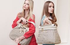 TWIN-SET Simona Barbieri: knitted maxi sack bag with chain, charm with bow and heart in metal and Cécile knitted satchel bag