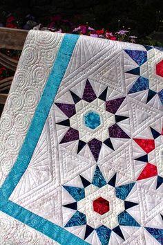 love the quilting !! color, stars, hexi star, quilts, tamarack shack, grandma star, machine quilting, longarm, flower