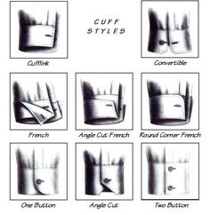 Styles of cuffs. I personally recommend cufflink, convertible, and french cuff styles because cufflinks are subtle, classy and can emphasize aspects your personality.