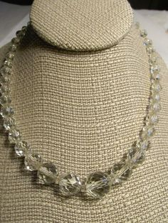 "Rock Crystal Faceted Vtg.Glass Heavy Beaded 16"" Necklace-44 BEADS/44 Spacers #Unbranded #Choker"
