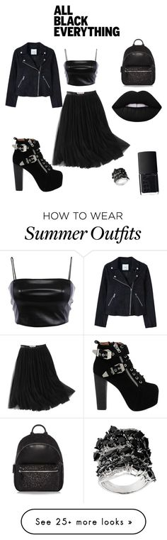 """""""All black everything"""" by kelcie430 on Polyvore featuring WithChic, Jeffrey Campbell, MANGO, NARS Cosmetics, Lime Crime and allblackoutfit"""