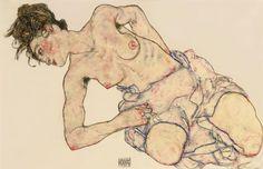 Kneider Weiblicher Halbakt - egon Schiele Drawing